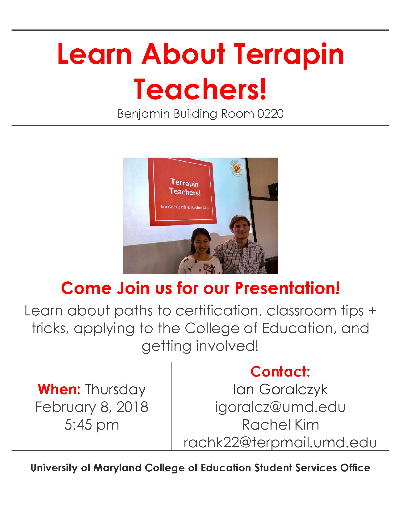 Learn about terrapin teachers umd college of education terrapin teacher presentation 1betcityfo Images