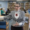 Dr. Jacobs in The Harbour School library