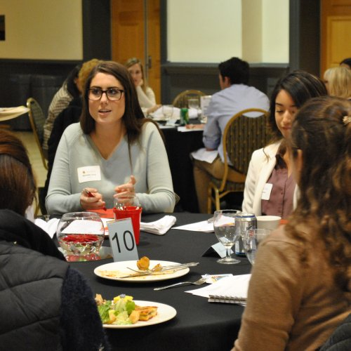 Students network at Jump Start Your Job Search event.