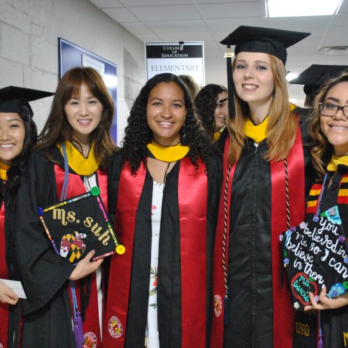 Students backstage before Spring 2018 Commencement