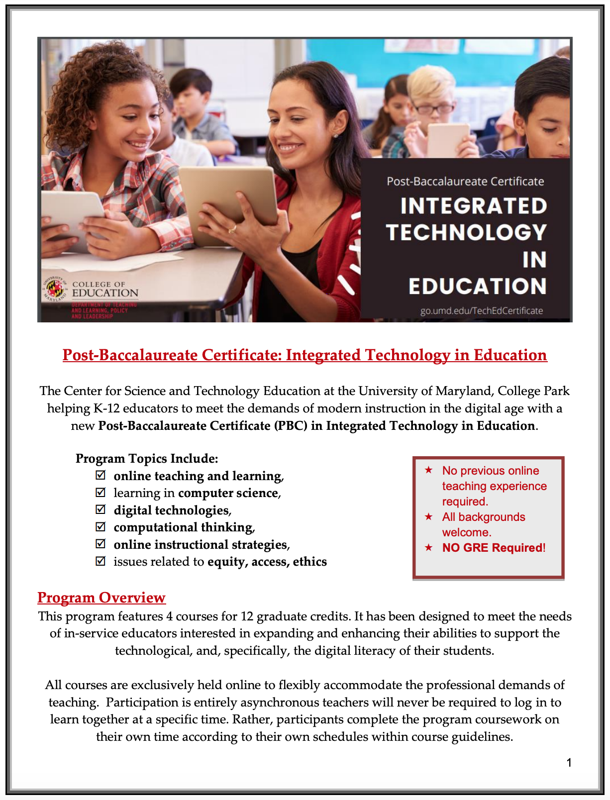 Integrated Technology In Education Post Baccalaureate Certificate Umd College Of Education