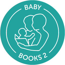Circular teal logo displaying two parental figures sharing a book with an infant