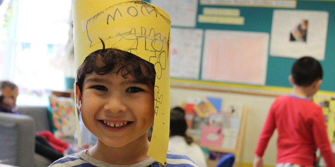 Child with homemade hat