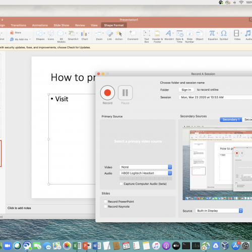 Screenshot of launching Panopto with PowerPoint in teh background
