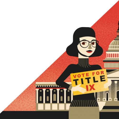 Illustration of woman holding Title IX sign in front of Capitol