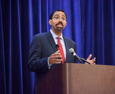 John King addresses the audience at the inaugural Dean's Lecture on Education and Society on April 9.