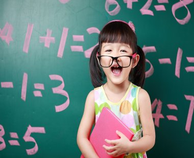 Little girl excited about math