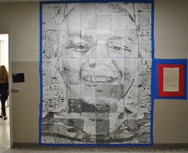 Arts Integration mural of boy's face